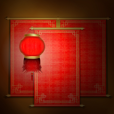Chinese scroll: Vector traditional Asian scroll with red Chinese lanterns on a gold background. The scrolls are made by individual elements, and each roll can be applied to an inscription or the image.