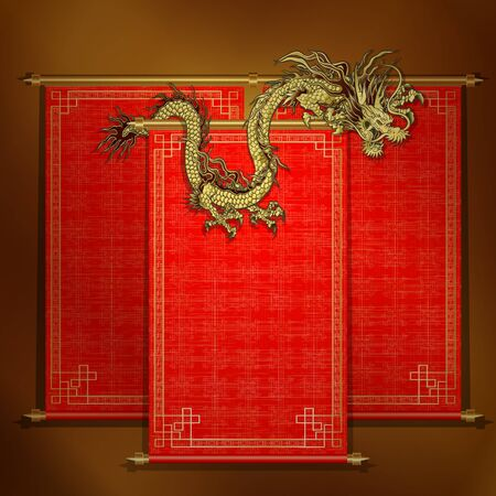 applied: traditional Asian red scroll with Chinese dragon on a gold background. The scrolls are made by individual elements, and each roll can be applied to an inscription or the image.