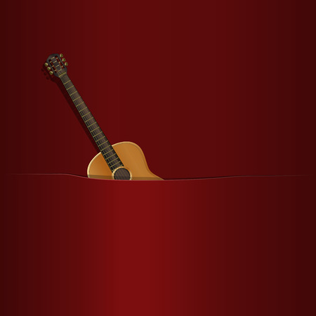 possibility: illustration of acoustic guitar in the pocket, with the background music or the possibility of inscribing your image Illustration