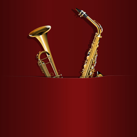 possibility: illustration of saxophone and trumpet in the pocket, with the background music or the possibility of inscribing your image