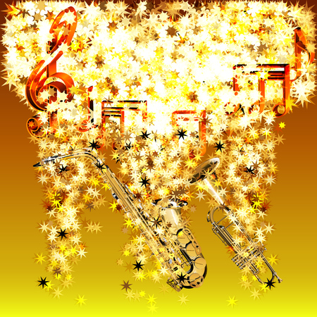 Vector illustratie van de muzikale noten in een wolk van sterren saxofoon en trompet in de stromende stars.It kan worden gebruikt als een poster, reclame of afzonderlijk. Vector Illustratie