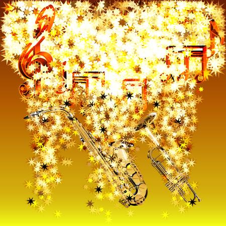 Vector illustratie van de muzikale noten in een wolk van sterren saxofoon en trompet in de stromende stars.It kan worden gebruikt als een poster, reclame of afzonderlijk.