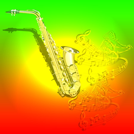 textural: Vector illustration of musical background Saxophone and waves of musical notes on a colored textural background. You can use as a template billboards, advertising or separately.