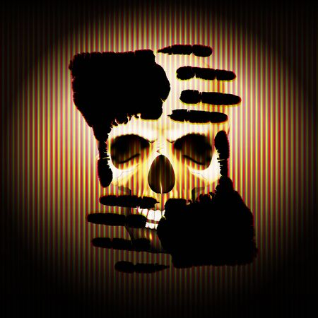 cranial skeleton: Vector illustration of a palm of the hand against the background of a skull in the texture of the strips. Warning sign