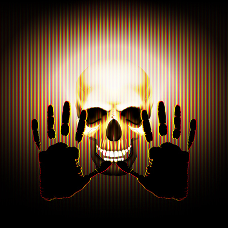 cranial skeleton: Vector illustration of a palm of the hand against the background of a skull in the texture of the strips. Warning sign .