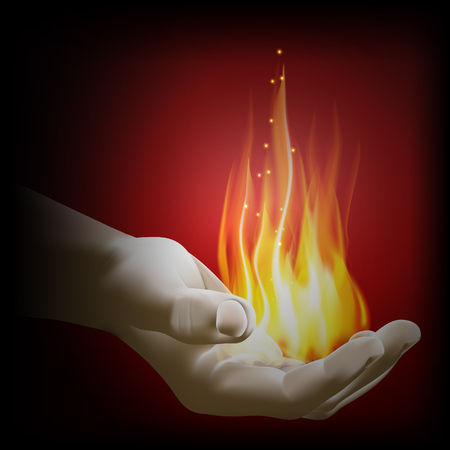 Vector illustration of a flame in hand, isolated object on a dark background, can be used with a black background.
