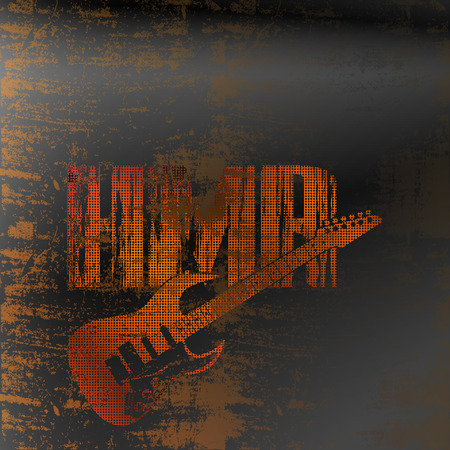 heavy metal: Vector illustration of a pattern heavy metal rock with an electric guitar on iron background.It can be used as a poster, advertising or separately.