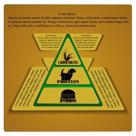 food pyramid: Vector illustration food pyramid fats protein carbohydrates with a place for an inscription, all elements separate and can be moved as needed. Illustration