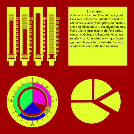 room for text: Vector illustration infographics pie chart and graph with scale. Added separate segments of a circular graph and a circular aperture. There is room for text.