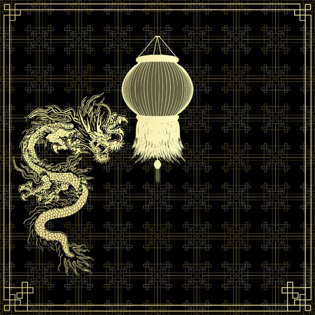 chinese lanterns: Vector illustration of a traditional Chinese dragon with golden Chinese lanterns on a black background. Gold asian ornament. Illustration