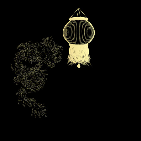 chinese lanterns: Vector illustration of a traditional Chinese dragon with golden Chinese lanterns on a black background.