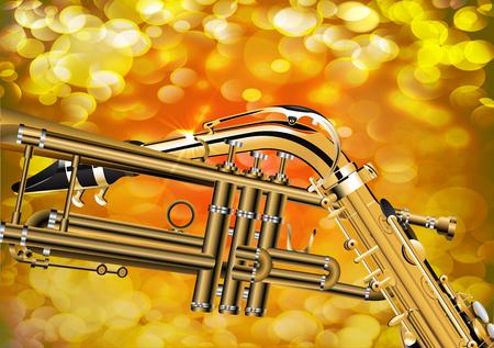 soprano saxophone: ilustración de saxofón trompeta de cerca sobre fondo brillante con un rayo. Vectores