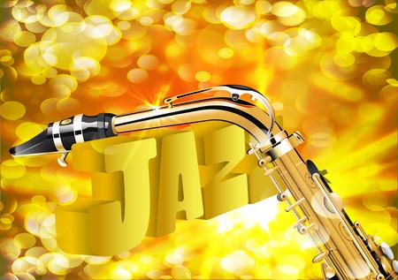 soprano saxophone: ilustración de saxofón del jazz de cerca sobre fondo brillante con un rayo.