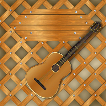 jazz time: Vector illustration of an acoustic guitar on a background of wooden planks and plank of wood. Illustration