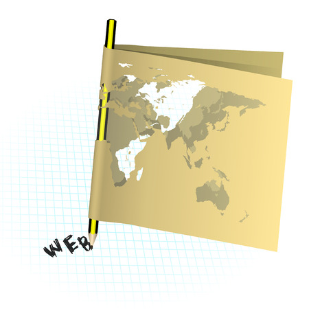 map pencil: Vector illustration of a pencil and a paper map of the world on the notebook sheet in the box, the web is displayed. Isolated object. Illustration