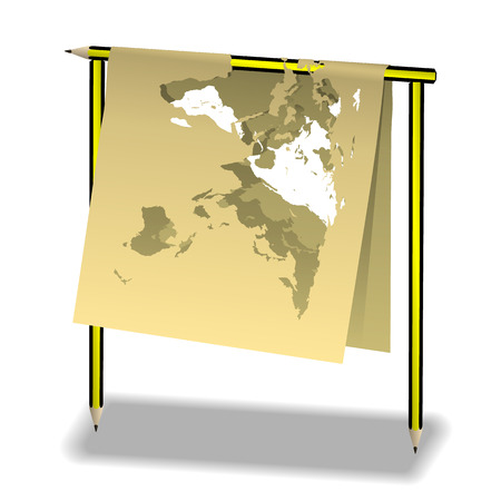 map pencil: illustration of a pencil and a paper map of the world. Isolated object. Illustration