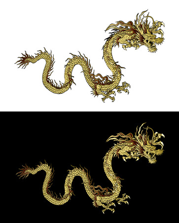 dragon chinois: illustration traditionnelle or dragon chinois sur un fond noir et un fond blanc. objet isolé. conception de modèle est adapté pour toutes les illustrations. Illustration