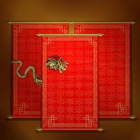 Chinese scroll: traditional Asian red scroll with Chinese dragon on a gold background. The scrolls are made by individual elements, and each roll can be applied to an inscription or the image.
