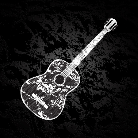 textural: illustration of a classic acoustic guitar on a dark textural background in black and white, monochrome image