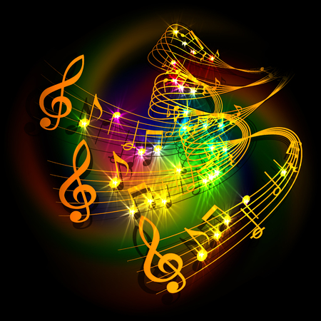 illustration of musical background waves musical notes on a colored background. Vector Illustration