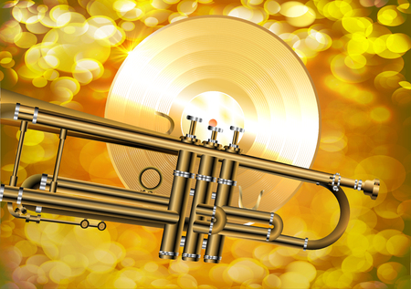 gold record: illustration of a trumpet with a gold vinyl records on a brilliant background with highlights. A4 image with a horizontal page orientation.
