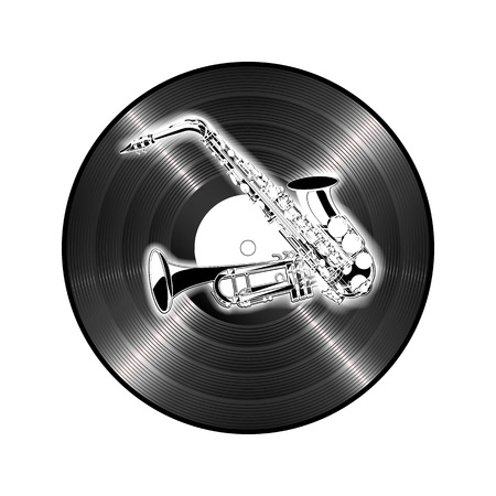 trumpet isolated: illustration of saxophone and trumpet on the background of vinyl. Isolated objects on a white background.