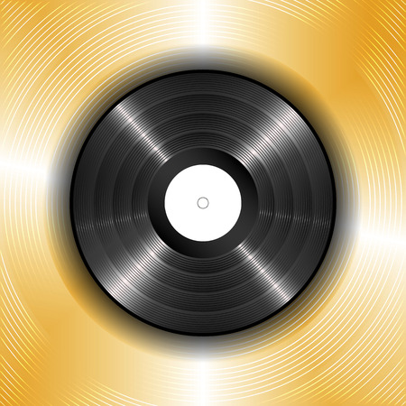 gold record: illustration of a black vinyl record on a background of gold.