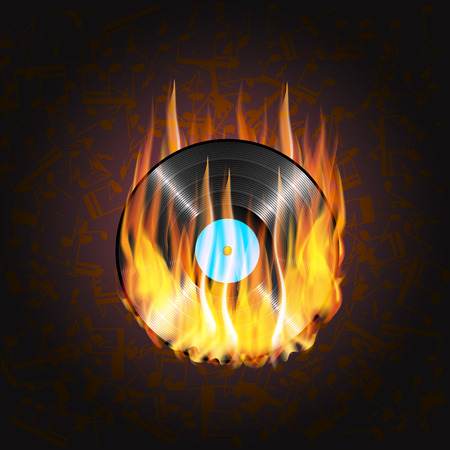 fire background: illustration of a vinyl record on fire on a background of musical notes on a dark background can be applied to any image with black or used separately.