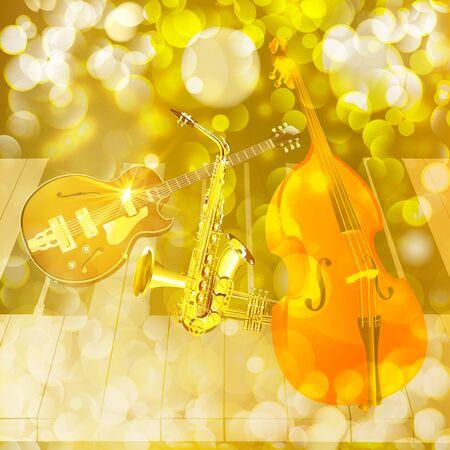 double bass: Vector illustration instruments jazz double bass, guitar, saxophone, trumpet on a brilliant background. Illustration