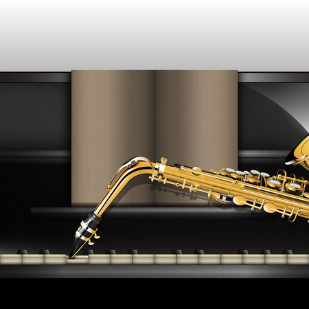 Vector illustration of a piano front view close-up and saxophone. 向量圖像