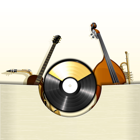 double bass: Vector illustration of a vinyl record with envelope and instruments jazz double bass, jazz guitar, trumpet and gold frame for text.