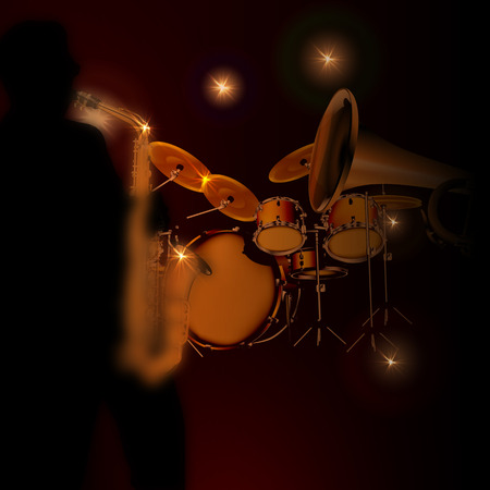african sax: illustration of a saxophonist on a dark background with lights from the trumpet and drums. Silhouette saxophonist drawn independently brush tool without the use of reference images. Illustration