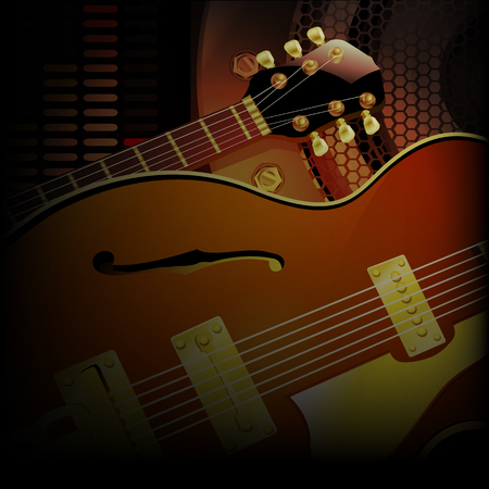 dimming: illustration of a jazz guitar close up on a background of acoustic speakers with dimming.
