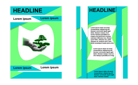 independently: illustration of a template, sample brochures ecology place for text in the center of the human hand with tree bonsai. Presents two sides of the front and back. Image done independently without reference image. Illustration