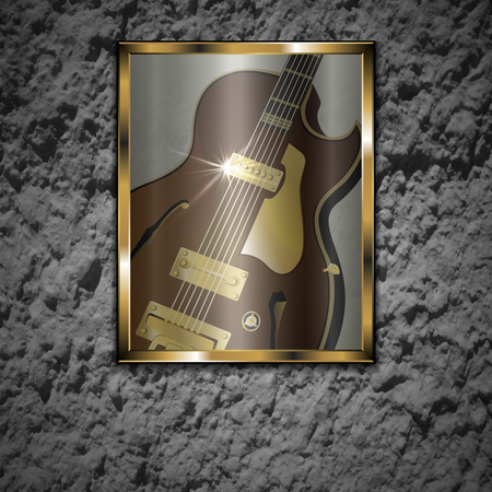 compatible: Vector illustration of a stone wall with a picture of a glass of jazz guitar in a gold frame. The image is well compatible with any text anywhere. Illustration