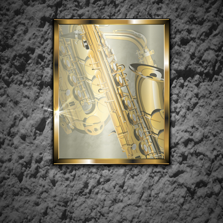 compatible: Vector illustration of a stone wall with a glass picture golden saxophone close-up in a gold frame. The image is well compatible with any text anywhere.