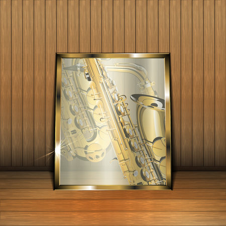 wooden floor: Vector illustration of a glass frame with a saxophone on a wooden background with floor and wall. The text may be placed in any part of the image and in the frame itself.