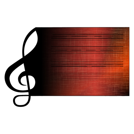 dimming: Vector illustration of a treble clef stave rolling in on the paper with the texture of dark color with dimming. Isolated object on a white background, can be used with any image has room for text placement.