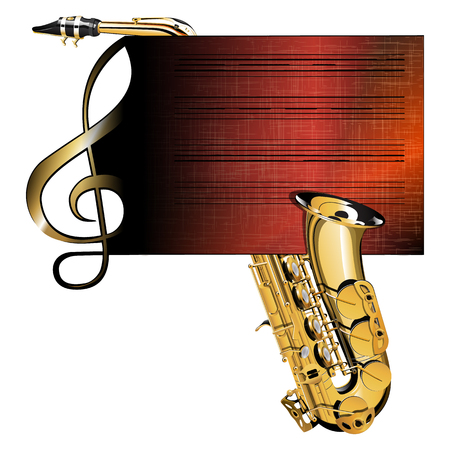 dimming: Vector illustration of a treble clef music staff with a saxophone on a paper with the texture of dark color with dimming. Isolated object, can be used with any image has room for text placement.