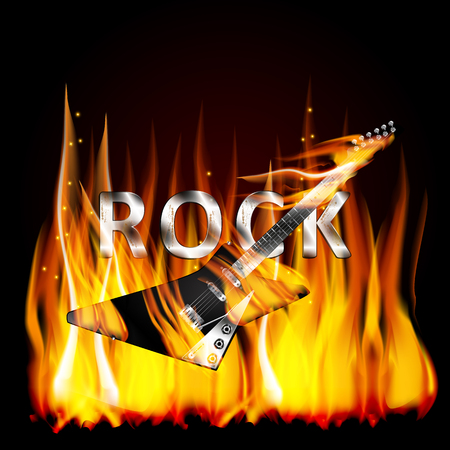 fatal: Vector illustration of a metal inscription letters rock in a flame with a fatal electric guitar on fire in the foreground.