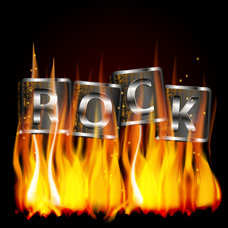 superimposed: Vector illustration of the word rock, metal flame on iron base with rust. The image is superimposed on any background black.