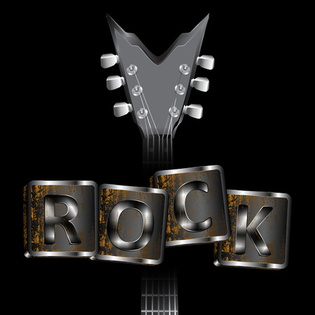 guitar neck: Vector illustration of a guitar neck with an iron rock inscription on a dark background. Can be used with any image or text on a black background.
