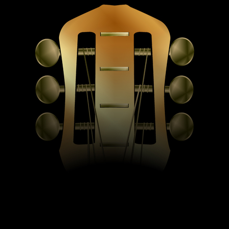 text room: Vector illustration of musical background acoustic guitar closeup darkened neck. There is room to place text or an image.