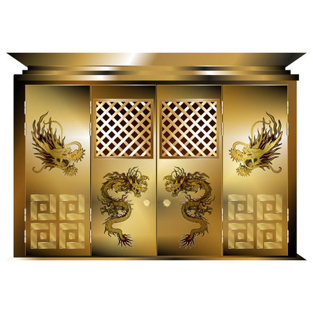 east gate: Vector illustration of a traditional east gate gold dragons. Isolated object on a white background, can be used with any image or text.