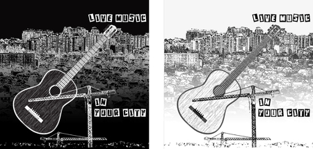 city live: Vector illustration of Live music in your city on a city background guitar and text. Displaying two options day and night in black and white. Can be used with any image or text in black or white background.