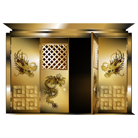 east gate: illustration of a traditional east gate gold dragons opened door. Isolated object on a white background, can be used with any image or text.