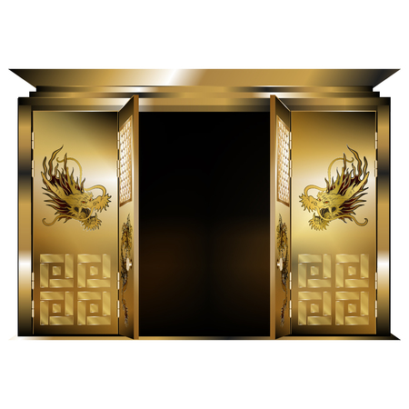 east gate: illustration of a traditional east gate gold dragons two open doors. Isolated object on a white background, can be used with any image or text.
