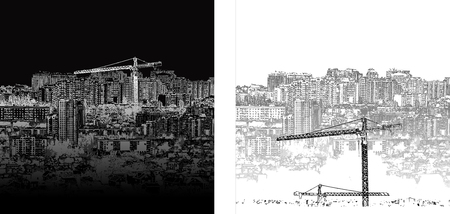 combined: illustration of urban landscape of black and white day and night. It can be combined with any text or image.