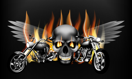 illustration of monochrome fiery motorcycle on the background of a skull with wings. Isolated object can be used with any text or image. Vectores