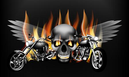 Ilustracja monochromatyczny ognistym motocykla na tle czaszki ze skrzydłami. Izolowany obiekt może być używany z dowolnym tekstem lub obrazem. Ilustracje wektorowe